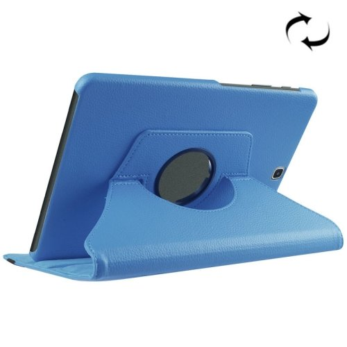 For S2 9.7/T815 Blue Litchi Solid Color Leather Case with 360° Rotating Holder