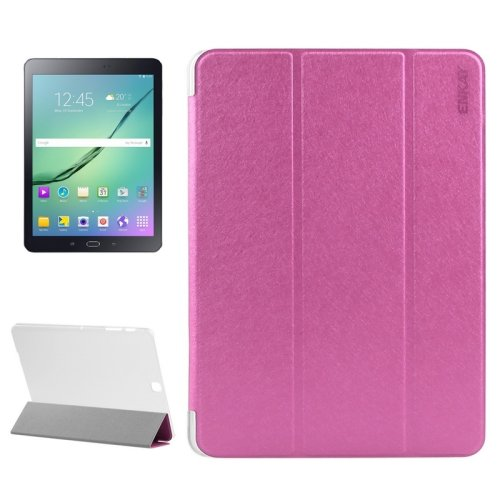 For S2 9.7/T815 Magenta ENKAY Silk PU Leather + Translucent Frosted Plastic Case with 3-fold Holder