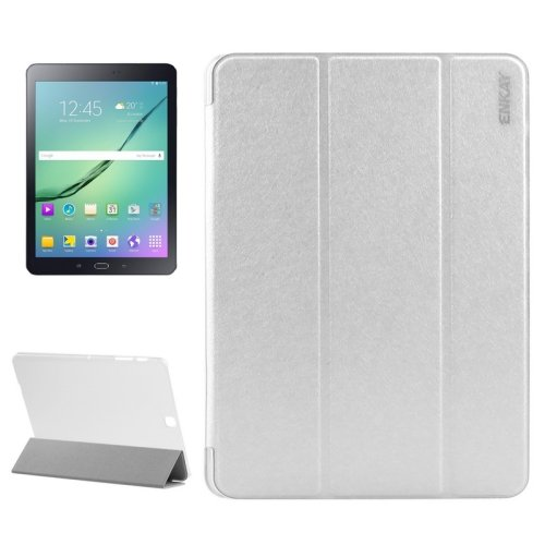 For S2 9.7/T815 White ENKAY Silk PU Leather + Translucent Frosted Plastic Case with 3-fold Holder