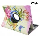 For Tab S2 9.7/T815 Rose Pattern Leather Case with 360° Rotating Holder