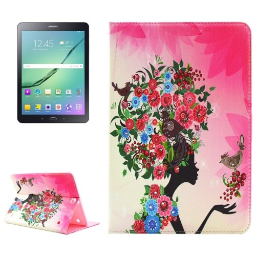 For Tab S2 9.7/T815 Flower Girl Diamond Flip Leather Case with Holder