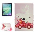 For Tab S2 9.7/T815 Girl in Car Diamond Flip Leather Case with Holder