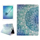 For Tab S2 9.7/T815 Flower PC + PU Leather Case with Holder & Card Slots