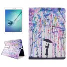 For Tab S2 9.7/T815 Drawing Rain PC + PU Leather Case with Holder & Card Slots