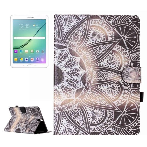 For Tab S2 9.7/T815 Half Flower Flip Leather Case with Holder, Card Slots & Wallet