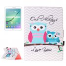 For Tab S2 9.7/T815 Stripes Owls Flip Leather Case with Holder, Card Slots & Wallet