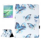 For Tab S2 9.7/T815 Butterflies Flip Leather Case with Holder, Card Slots & Wallet