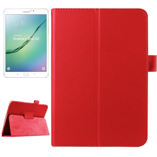 For Tab S2 8.0/T715 Red Litchi Smart Cover Leather Case with 2 Folding Holder