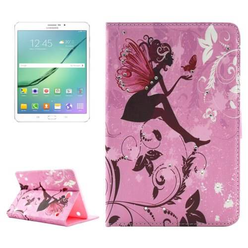For Tab S2 8.0/T715 Girl and Butterfly Pattern Diamond Flip Leather Case with Holder