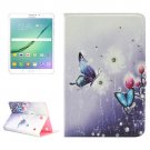 For Tab S2 8.0/T715 Butterfly Pattern Diamond Flip Leather Case with Holder