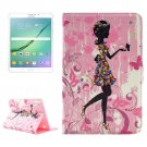 For Tab S2 8.0/T715 Colorful Girl Pattern Diamond Flip Leather Case with Holder