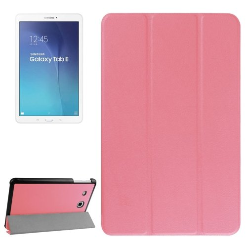 For Tab E 9.6 Pink Karst Texture Flip Leather Case with 3-folding Holder