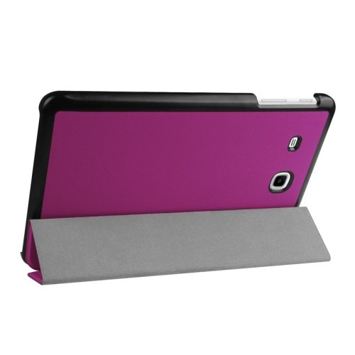 For Tab E 9.6 Purple 3-floding Custer Texture Leather Case with Holder