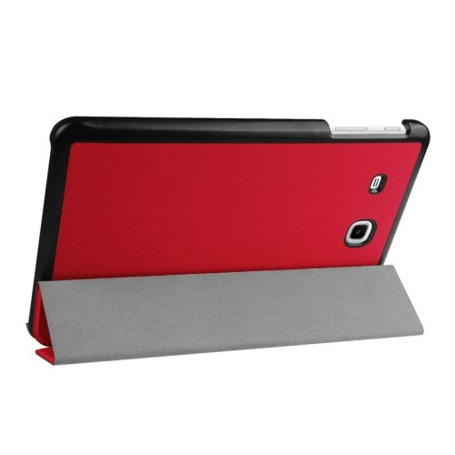 For Tab E 9.6 Red 3-floding Custer Texture Leather Case with Holder
