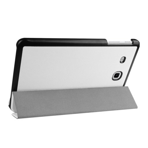 For Tab E 9.6 White 3-floding Custer Texture Leather Case with Holder