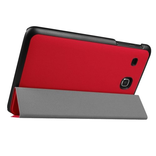 For Tab E 9.6 Red Custer Texture Flip Solid Color Leather Case with 3-folding Holder