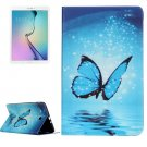 For Galaxy Tab E 9.6 Butterfly Pattern Flip Leather Case with Holder