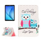 For Galaxy Tab E 9.6 Stripes Owls Pattern Flip Leather Case with Holder, Card Slots & Wallet