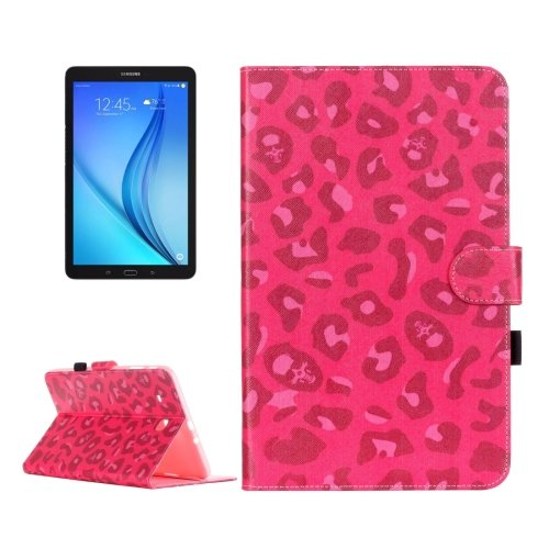 For Galaxy Tab E 9.6 Magenta Leopard Pattern Flip Leather Case with Holder, Card Slots & Wallet