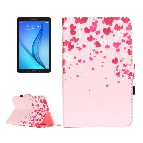 For Galaxy Tab E 9.6 Love Flower Pattern Flip Leather Case with Holder, Card Slots & Wallet