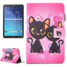 For Galaxy Tab E 9.6 Cartoon Cat Pattern Flip Leather Case with Holder, Card/Pen Slots