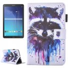 For Galaxy Tab E 9.6 Raccoon Pattern Flip Leather Case with Holder, Card/Pen Slots