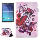For Galaxy Tab E 9.6 Cartoon Owl Pattern Flip Leather Case with Holder, Card/Pen Slots