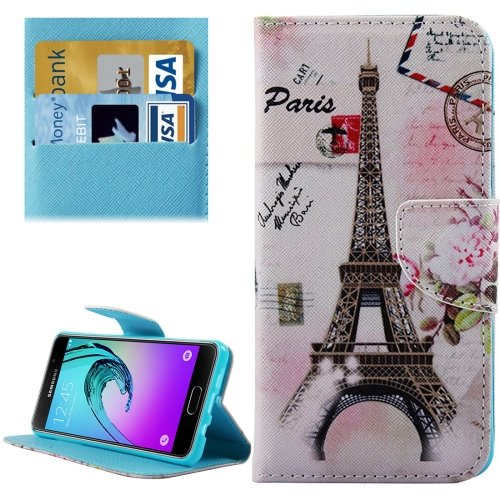 For Galaxy A5(2016) Eiffel Tower 2 Leather Case with Holder, Card Slots & Wallet