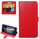 For Galaxy A5(2016) Red Lambskin Leather Case with Holder, Card Slots & Lanyard
