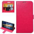 For Galaxy A5(2016) Magenta Lambskin Leather Case with Holder, Card Slots & Lanyard