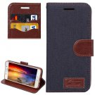 For Galaxy A5(2016) Black Jeans Horizontal Flip Leather Case with Holder & Card Slots