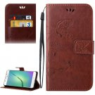 For Galaxy A5(2016) Coffee Crazy Horse Printing Leather Case with Holder, Card Slots & Wallet