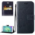 For Galaxy A5(2016) Dark Blue Crazy Horse Printing Leather Case with Holder, Card Slots & Wallet