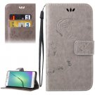For Galaxy A5(2016) Grey Crazy Horse Printing Leather Case with Holder, Card Slots & Wallet
