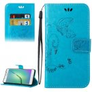 For Galaxy A5(2016) Blue Crazy Horse Printing Leather Case with Holder, Card Slots & Wallet