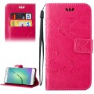 For Galaxy A5(2016) Magenta Crazy Horse Printing Leather Case with Holder, Card Slots & Wallet