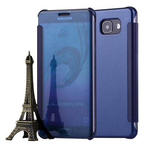For Galaxy A5(2016) Dark Blue Flip Leather Case with Sleep / Wake-up Function