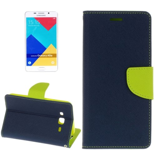 For Galaxy A5(2016) Dark Blue Cross Magnetic Leather Case with Holder, Card Slots & Wallet