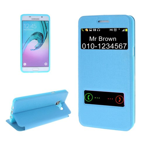 For Galaxy A5(2016) Blue Oracle TPU + PU Leather Case with Caller ID Window & Holder