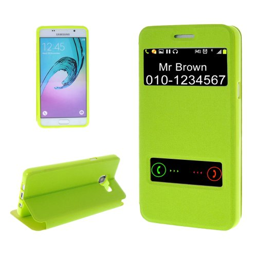 For Galaxy A5(2016) Green Oracle TPU + PU Leather Case with Caller ID Window & Holder