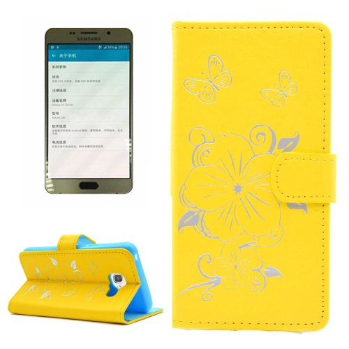 For Galaxy A5(2016) Yellow Butterfly Leather Case with Holder, Card Slots & Wallet