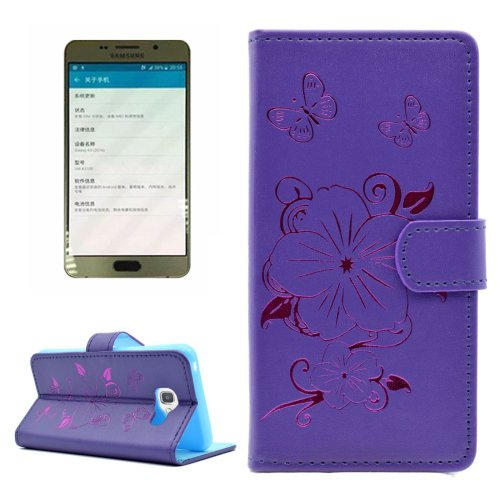 For Galaxy A5(2016) Purple Butterfly Leather Case with Holder, Card Slots & Wallet
