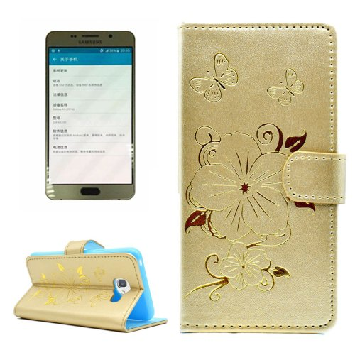 For Galaxy A5(2016) Gold Butterfly Leather Case with Holder, Card Slots & Wallet