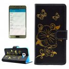 For Galaxy A5(2016) Black Butterfly Leather Case with Holder, Card Slots & Wallet
