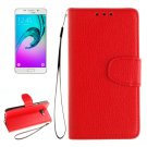 For Galaxy A5(2016) Red Litchi Leather Case with Holder, Card Slots, Wallet & Photo frame