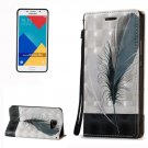 For Galaxy A5(2016) Feather 3D Leather Case with Holder, Card Slots & Lanyard