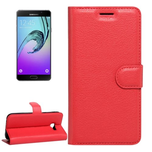 For Galaxy A5(2017) Red Litchi Leather Case with Holder, Card Slots & Wallet