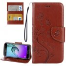 For Galaxy A5(2017) Brown Embossing Leather Case with Holder, Card Slots & Wallet