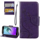 For Galaxy A5(2017) Dark Purple Embossing Leather Case with Holder, Card Slots & Wallet