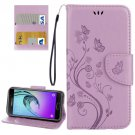 For Galaxy A5(2017) Light Purple Embossing Leather Case with Holder, Card Slots & Wallet